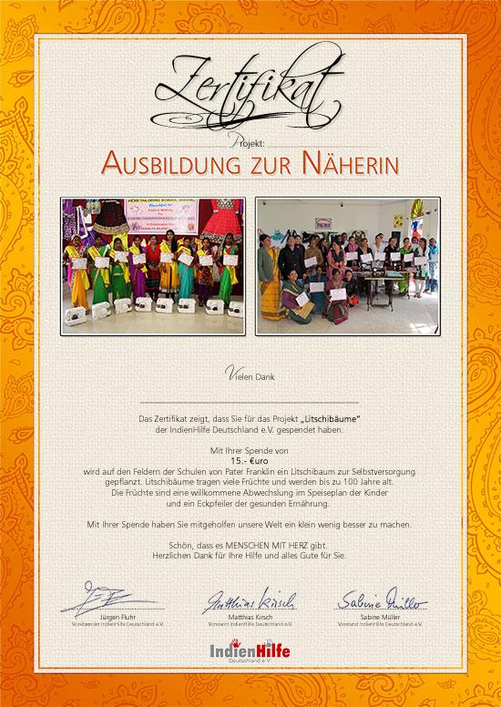 IndienHilfe   Projekt Ausbildung zur Näherin